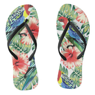 Tropical Birds, Flowers and Palm Leaves Thongs