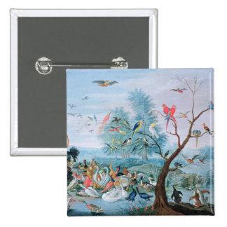 Tropical birds in a landscape 15 cm square badge