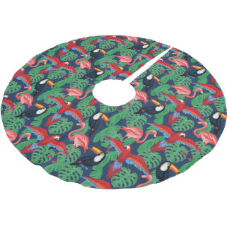 Tropical Birds In Bright Colors Brushed Polyester Tree Skirt