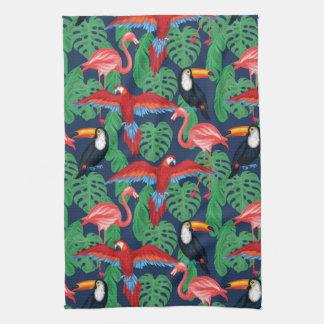 Tropical Birds In Bright Colors Tea Towel