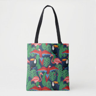 Tropical Birds In Bright Colors Tote Bag