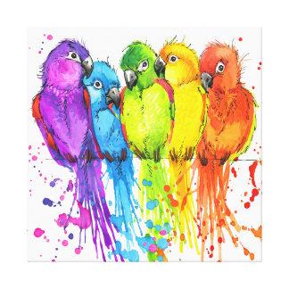 Tropical Birds of a Feather Canvas Art