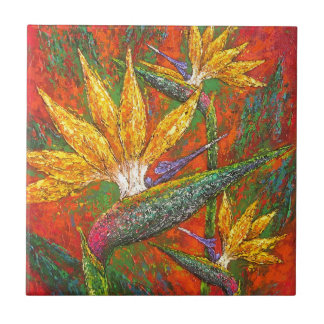 Tropical Birds Of Paradise Flowers Painting Art Ceramic Tile
