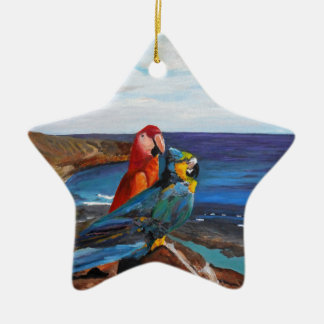 Tropical Birds Overlooking the Bay Ceramic Ornament