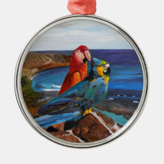 Tropical Birds Overlooking the Bay Metal Ornament