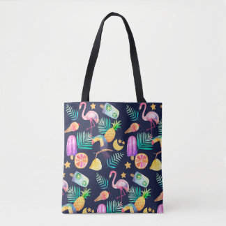 Tropical Birds Pineapple Pattern Tote Bag