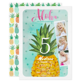 Tropical Birthday | Pineapple Fruit | Invitations