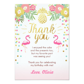 Tropical Birthday Thank You Card Luau Flamingo 13 Cm X 18 Cm Invitation Card