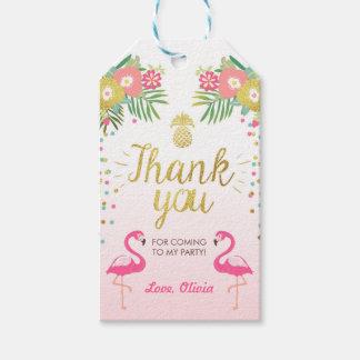 Tropical Birthday thank you tags Flamingo Luau