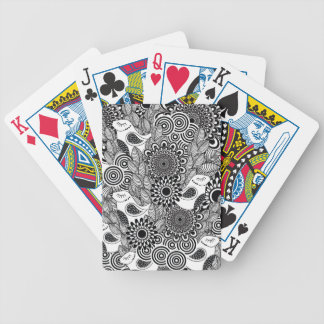 tropical black and white birds bicycle playing cards