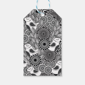tropical black and white birds gift tags
