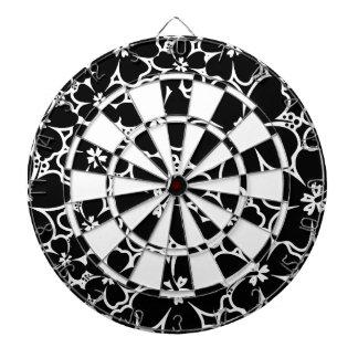 Tropical black and white hibiscus dartboard