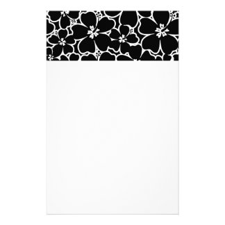 Tropical black and white hibiscus stationery