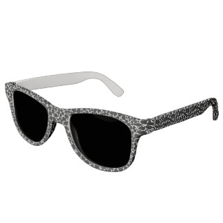 Tropical black and white hibiscus sunglasses