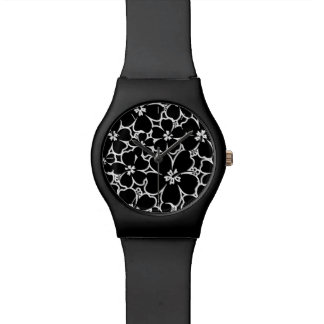 Tropical black and white hibiscus watch