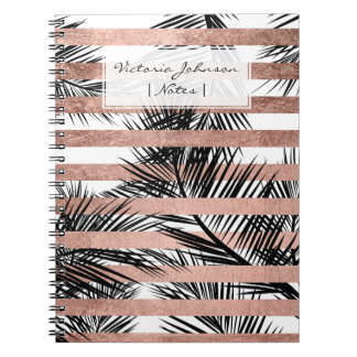 Tropical black palm trees chic rose gold stripes notebooks