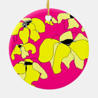 Tropical Block hot pink and yellow HEVi FineArt Round Ceramic Decoration