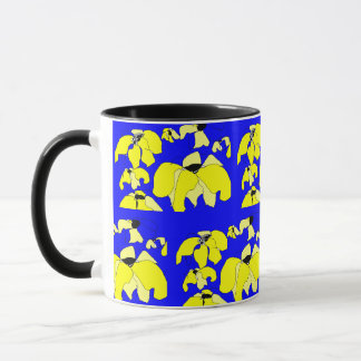 Tropical Block Print Drinkware, Navy and Yellow Mug