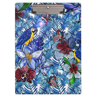 Tropical Blue Aloha Exotic Jungle & Parot Flowers Clipboard
