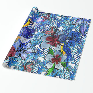Tropical Blue Aloha Exotic Jungle & Parot Flowers Wrapping Paper