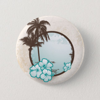 Tropical blue circle 6 cm round badge