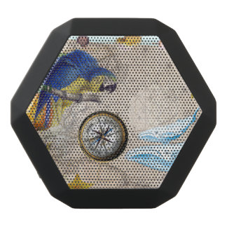 Tropical Blue Collage Black Bluetooth Speaker