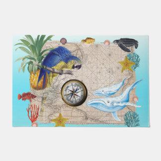 Tropical Blue Collage Doormat