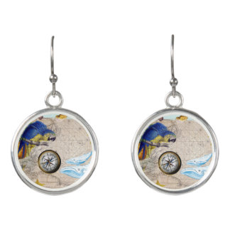 Tropical Blue Collage Earrings