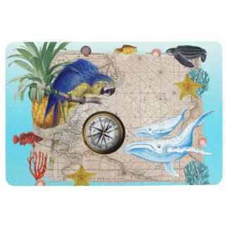 Tropical Blue Collage Floor Mat