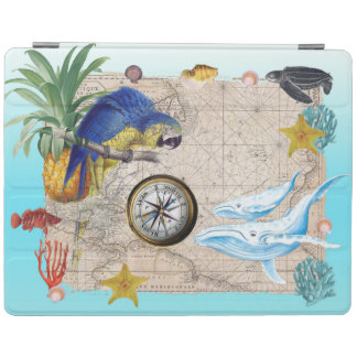 Tropical Blue Collage iPad Cover