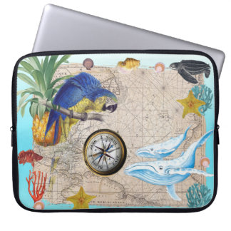 Tropical Blue Collage Laptop Sleeve