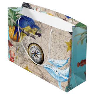 Tropical Blue Collage Large Gift Bag