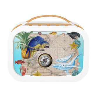 Tropical Blue Collage Lunch Box