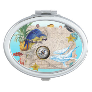 Tropical Blue Collage Makeup Mirrors