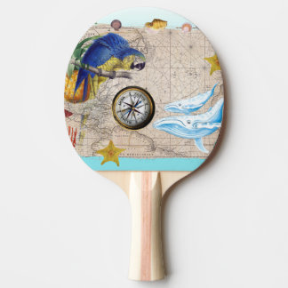 Tropical Blue Collage Ping Pong Paddle