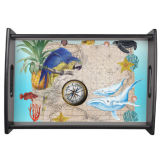 Tropical Blue Collage Serving Tray