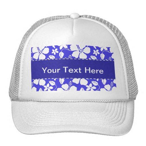 Tropical Blue Floral Mesh Hat