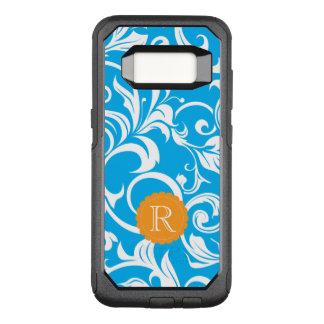 Tropical Blue Floral Wallpaper Swirl Monogram OtterBox Commuter Samsung Galaxy S8 Case