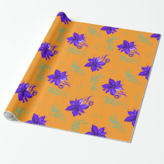 Tropical Blue Flowers on Orange Wrapping Paper