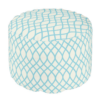 Tropical Blue Geometric Pouf
