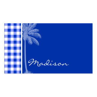 Tropical Blue Gingham Business Card Template