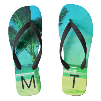 Tropical Blue/Green Beach & Palm Tree Initial Thongs