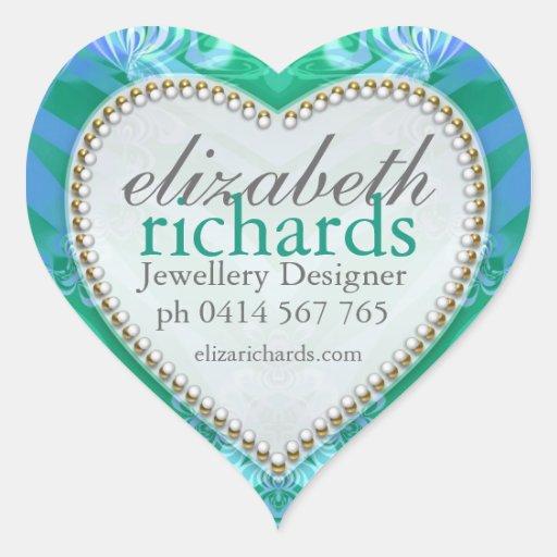 Tropical Blue Green Custom Name Heart Stickers