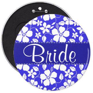 Tropical Blue Hibiscus Cute Button