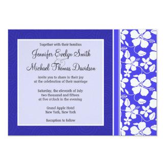 Tropical Blue Hibiscus Flower; Floral Custom Invites