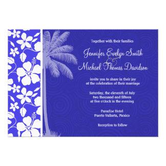 Tropical Blue Hibiscus Palm Invites