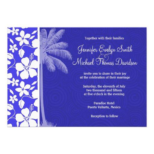 Tropical Blue Hibiscus; Palm Invites