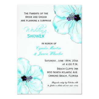 Tropical Blue Hibiscus Wedding Shower Invite
