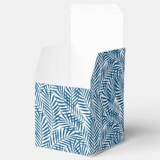 Tropical blue palm leaf favour box