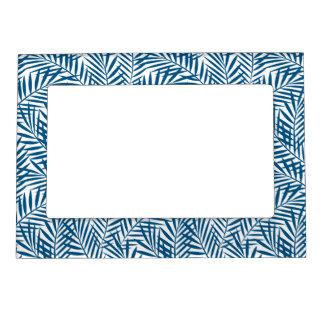 Tropical blue palm leaf magnetic frame